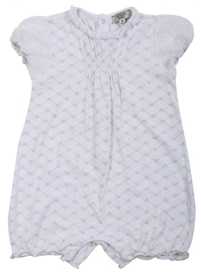 ARMANI JUNIOR WHITE ALL OVER LOGO PLAY SUIT
