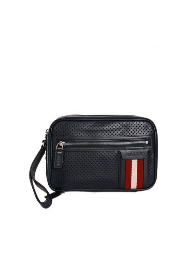 BALLY BLACK PERFORATED THAMES TRAVEL POUCH