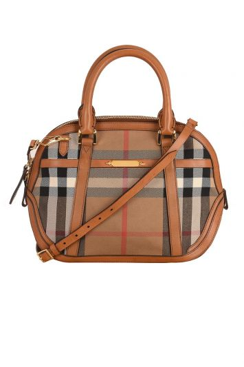 BURBERRY COTTON SMALL ORCHARD HOUSE CHECK BOWLING BAG