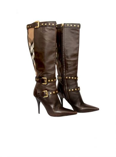 BURBERRY BLACK STUDDED LONG BOOTS