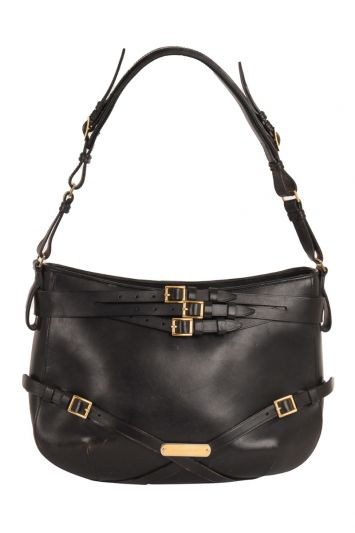 BURBERRY BROWN LEATHER SMALL BRIDLE DUTTON HOBO BAG