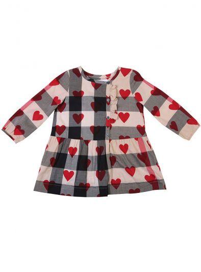 BURBERRY CLASSIC BEIGE CHECKS & HEART PRINT DRESS