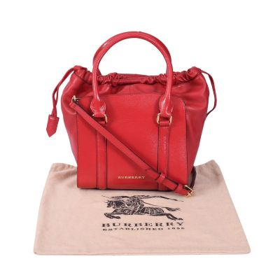 BURBERRY DINTON SMALL PATENT CALFSKIN TOTE BAG