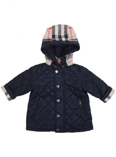 BURBERRY NAVY BLUE QUILTED HOODED JACKET