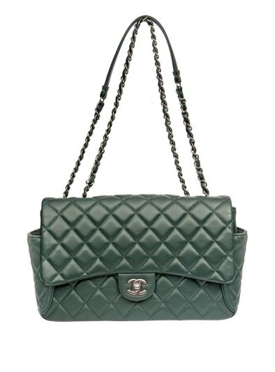 CHANEL GREEN QUILTED LEATHER JUMBO CLASSIC SINGLE FLAP BAG