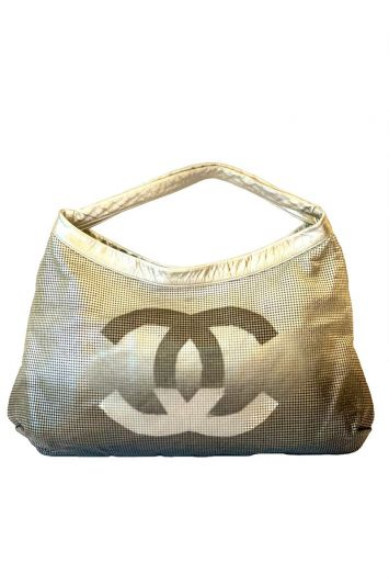 CHANEL SILVER METALLIC PERFORATED LEATHER HOLLYWOOD HOBO