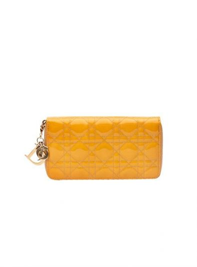 CHRISTIAN DIOR BEIGE PATENT LEATHER CANNAGE WALLET