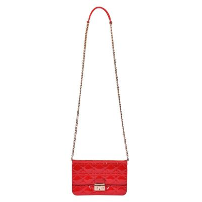 CHRISTIAN DIOR CANNAGE QUILTED PATENT LEATHER BAG