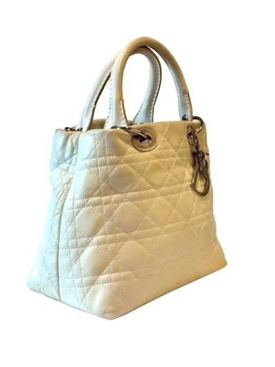 CHRISTIAN DIOR MINI LADY WHITE QUILTED BAG
