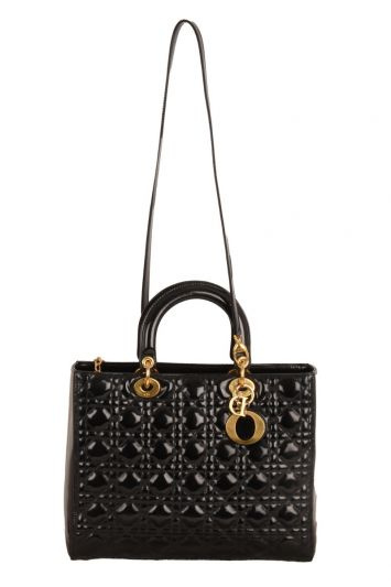 LADY DIOR LARGE CANNAGE PATENT TOTE BAG