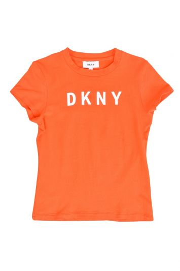 DKNY ORANGE COTTON LOGO  T-SHIRT