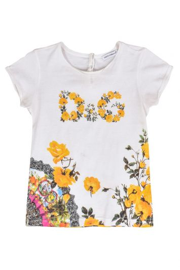 DOLCE AND GABBANA WHITE FLORAL PRINT TOP