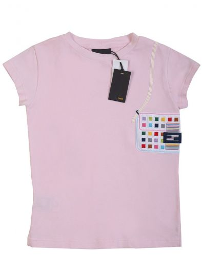 FENDI PASTEL PINK EMBROIDERED PATCHWORK T-SHIRT