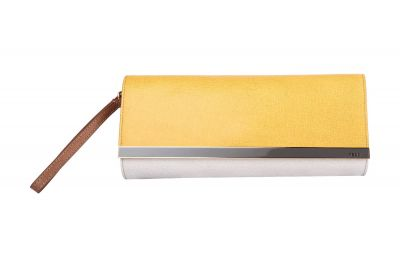 FENDI RUSH COLORBLOCK YELLOW GREY SAFFIANO WRISTLET CLUTCH