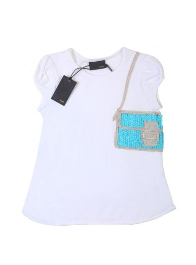 FENDI WHITE & BLUE EMBROIDERED PATCHWORK T-SHIRT