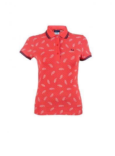 FRED PERRY RED PRINTED T-SHIRT