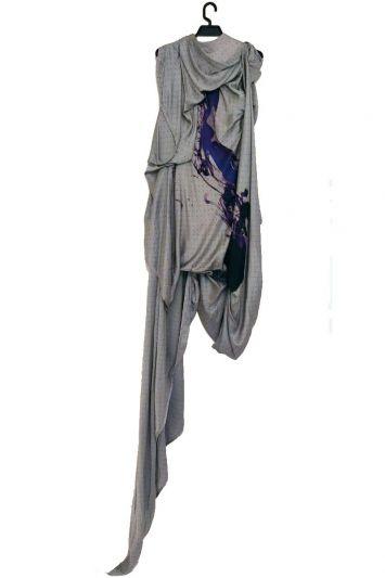 GAURAV GUPTA PRINTED SATIN ASYMETRICAL DRESS