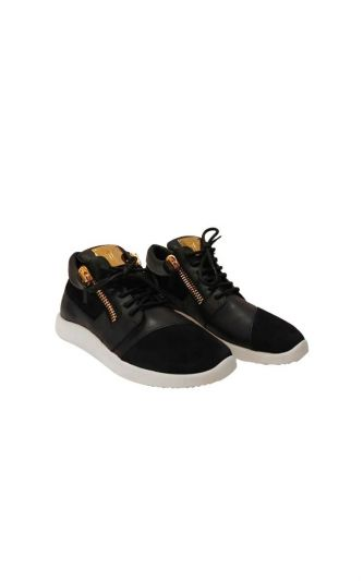 GIUSEPPE ZANOTTI BLACK SUEDE & LEATHER DOUBLE CHAIN LOW TOP SNEAKERS