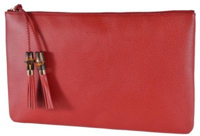 GUCCI BAMBOO TASSEL PULL ZIP TOP LARGE REDCLUTCH