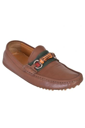 GUCCI BROWN BAMBOO HOSREBIT LOAFERS