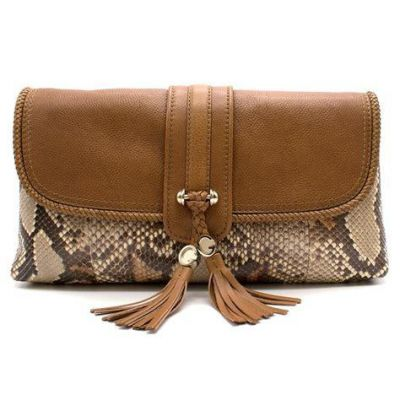 GUCCI BROWN EXOTIC SNAKE SKIN LARGE CLUTCH