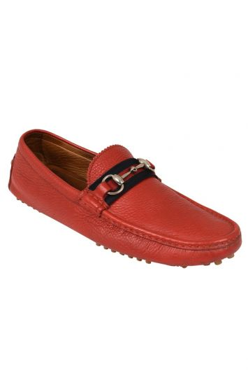 GUCCI DAMO HORSEBIT DRIVING RED LEATHER LOAFERS