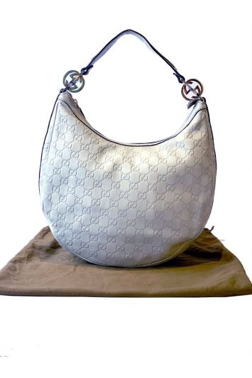 GUCCI LEATHER OFF WHITE GG TWINS HOBO
