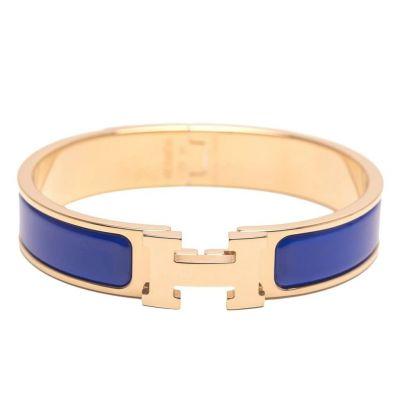 HERMES ROYAL BLUE CLIC CLAC H ENAMEL BRACELET