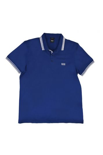 HUGO BOSS PIQUE POLO WITH STRIPED COLLAR AND CUFFS T-SHIRT