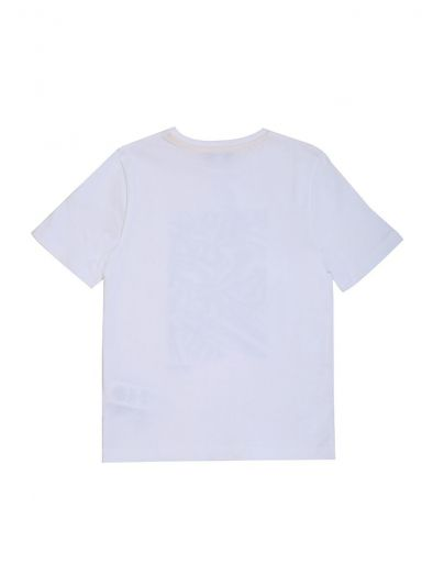 HUGO BOSS WHITE ABSTRACT PRINT LOGO T SHIRT