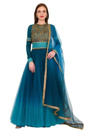 J J VALAYA  EMBROIDERED TEAL GOWN