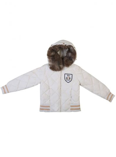 JUICY COUTURE WHITE & GOLD QUILTED DOWN FEATHER HOODIE