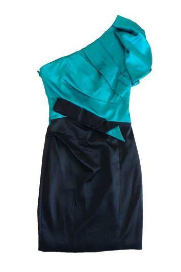 KAREN MILLLEN TEAL &BLACK ONE SHOULDER DRESS