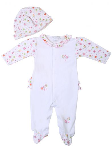 KISSY KISSY RUFFLED CANDY ROMPER WITH MITTENS & CAP