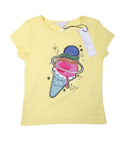 LITTLE MARC JACOBS YELLOW ICE CREAM EMBROIDERED T SHIRT
