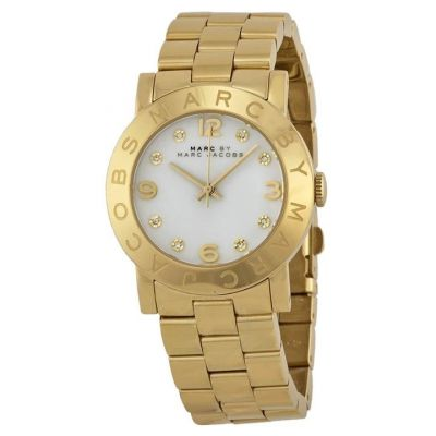 MARC JACOBS WHITE GOLD TONE STAINLESS STEEL WATCH