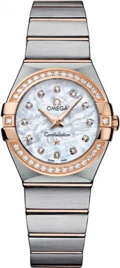 OMEGA CONSTELLATION STEEL GOLD DIAMONS MOP DIAL WATCH