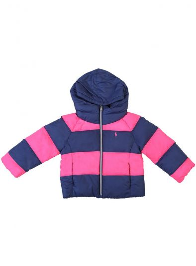 POLO RALPH LAUREN PINK & PURPLE QUILTED DOWN FEATHER HOODIE