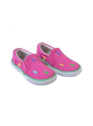 RALPH LAUREN POLO HOT PINK POLO SLIP ONS