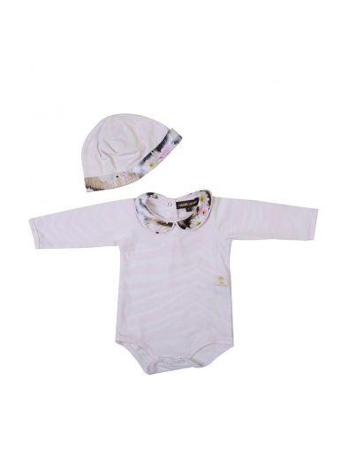ROBERTO CAVALLI KIDS BABY PINK LEOPARD PRINT ONESIE WITH CAP