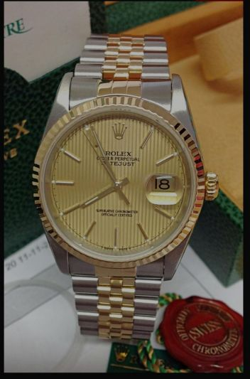 ROLEX DATEJUST 16233 BI COLOR TAPESTRY DIAL WATCH