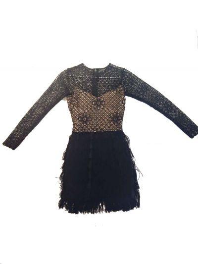 SIDDARTHA TYTLER BLACK FRINGE DRESS