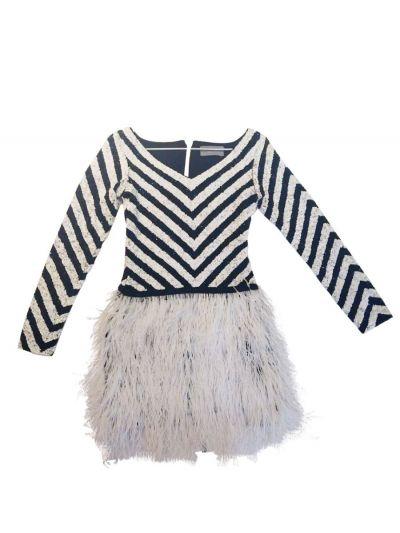 SIDDARTHA TYTLER BLACK & WHITE SEQUINS DRESS
