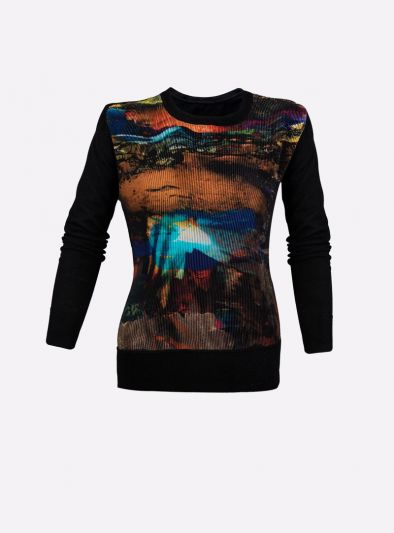 TED BAKER BLACK PRINTED RUCHED TOP