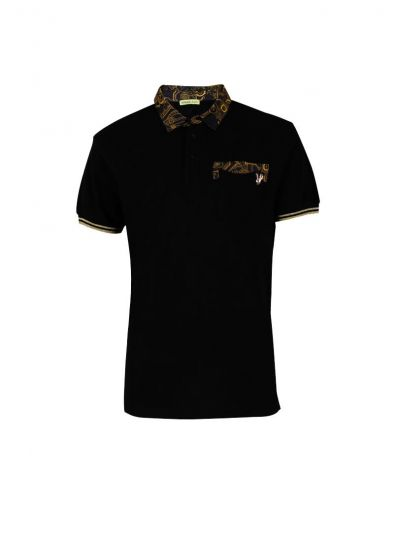 VERSACE JEANS COUTURE BLACK PRINTED T SHIRT