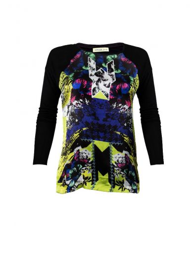 VERSACE JEANS COUTURE BLACK PRINTED TOP