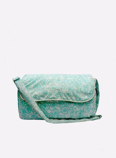 YOUNG VERSACE GREEN BAROQUE PRINT BABY BAG