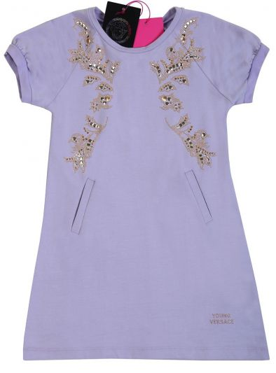 YOUNG VERSACE LILAC GOLD BAROQUE EMBROIDERED DRESS