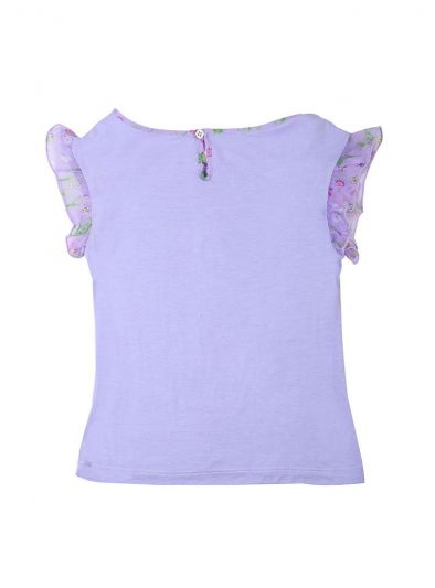 YOUNG VERSACE LILAC GOLD MEDUSA EMBROIDERED T SHIRT