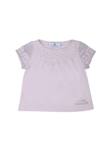 YOUNG VERSACE PASTEL PINK CRYSTAL TOP